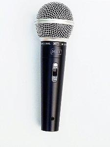 Kit com microfone dinâmico de mão M58 MXT Musical e cabo de 5 metros balanceado profissional com estoque em Manaus e entrega expressa