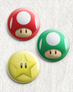 Kit 3 Botons - Super Mario Bros