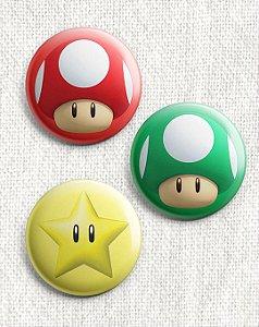 Kit 3 Botons - Super Mario Bros