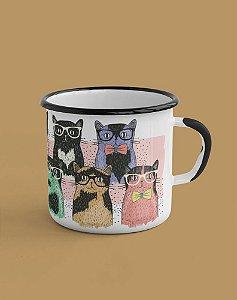 Caneca Esmaltada - Gatos Hipsters