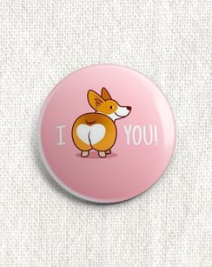 Boton Corgi - I Love You