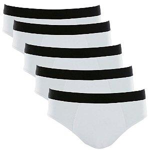 Kit com 5 Cuecas Slip Cotton Basic Masculina Part.B Branco