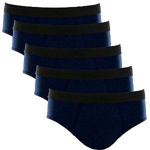 Kit com 5 Cuecas Slip Cotton Basic Masculina Part.B Azul Marinho
