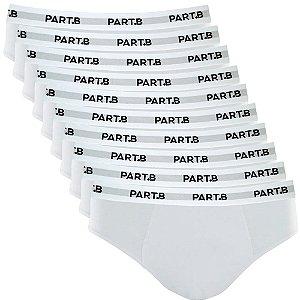 Kit com 10 Cuecas Slip Cotton Soft Masculina Part.B Branco