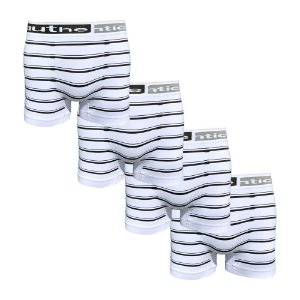 Kit com 4 Cuecas Listradas Boxer Sem Costura Authentica