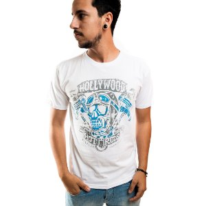 Camiseta Masculina T-Shirt Gola Normal Estampada Branca Hollywood
