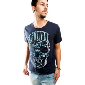 Camiseta Masculina T-Shirt Gola a Laser Estampada Azul Beautiful