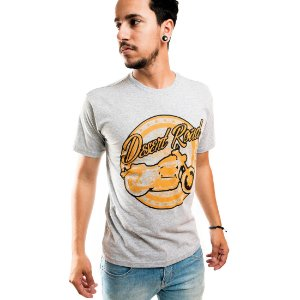 Camiseta Masculina T-Shirt Gola Normal Estampada Cinza Desert Road