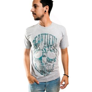 Camiseta Masculina T-Shirt Gola Normal Estampada Cinza Beautiful