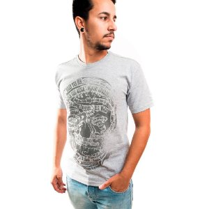 Camiseta Masculina T-Shirt Gola Normal Estampada Cinza Claro Billy The Kid