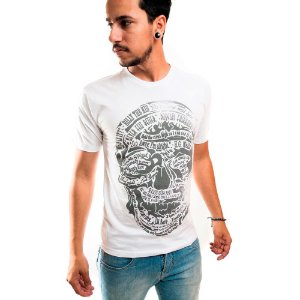 Camiseta Masculina T-Shirt Gola Normal Estampada Branco Billy The Kid