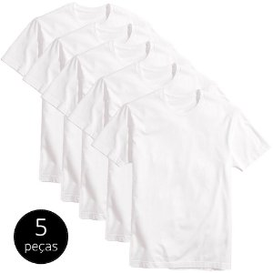Kit 5 Camisetas Básicas Masculina Part.B T-shirt Algodão Branca Tee