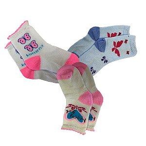 Kit com 3 Pares de Meias Infantil Alegria Feminina de 4 a 6 Anos