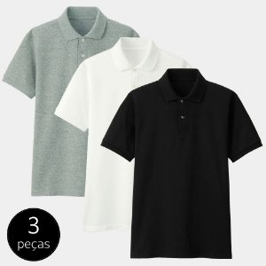 Kit com 3 Camisas Polo Part.B Regular Piquet Colors