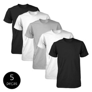 Kit 5 Camisetas Básicas Fit Part.B Masculina Colors Light