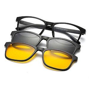 Armação para óculos de grau/sol com 2 lentes Clip On Polarizadas