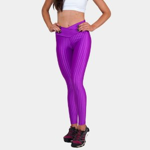Calça Legging Fitness Suplex Rosa Listrada