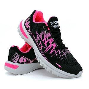 Tênis Sport System Casual Feminino - Preto e Pink