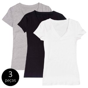 Kit com 3 Blusas Femininas Part.B Decote V Colors