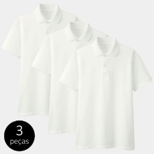 Kit com 3 Camisas Polo Part.B Regular Piquet Branca