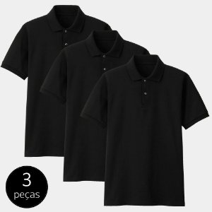 Kit com 3 Camisas Polo Part.B Regular Piquet Preta
