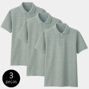 Kit com 3 Camisas Polo Part.B Regular Piquet Cinza