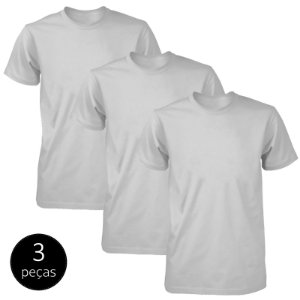 Kit 3 Camisetas Básicas Fit Part.B Masculina Cinza