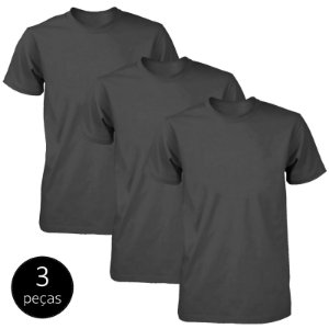 Kit 3 Camisetas Básicas Fit Part.B Masculina Preto
