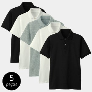 Kit com 5 Camisas Polo Part.B Regular Piquet Colors