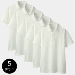 Kit com 5 Camisas Polo Part.B Regular Piquet Branca