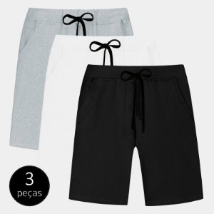 Kit com 3 Bermudas de Moletom Part.B Básico Masculina Colors