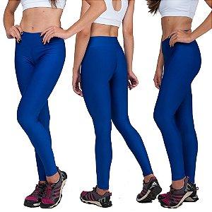 Kit com 3 Calças Legging Básica Suplex Azul