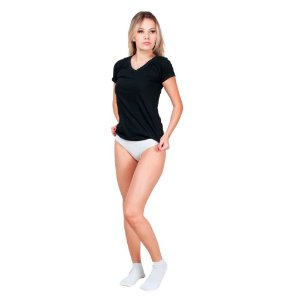 Kit com 5 Blusas Gola V 10 Calcinhas Tanga e 10 Pares de Meias Cano Curto Feminino Part.B Multicor
