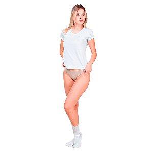Kit com 5 Blusas Gola V 10 Calcinhas Fio Dental e 10 Pares de Meias Esportivas Feminino Part.B Verão