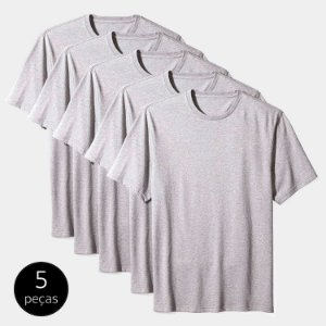 Kit Camiseta Básica c/ 5 Peças Masculina Cinza