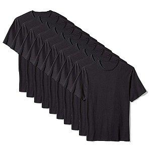 Camiseta Básica Masculina Algodão Kit 10 Peças Preto