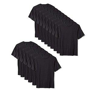 Camiseta Básica Masculina Algodão Kit 15 Peças Preto