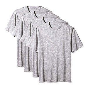 Camisetas Básica Masculina Algodão Kit 4 Peças Cinza