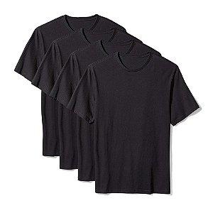 Camiseta Básica Masculina Algodão Kit 4 Peças Preta