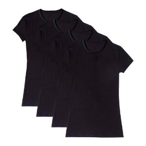 Camiseta Básica Feminina Baby Look Gola Redonda Kit 4 Peças Preta