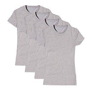 Camisetas Básica Feminina Baby Look Gola Redonda Kit 4 Peças Cinza