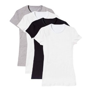 Camiseta Básica Feminina Baby Look Gola Redonda Kit 4 Peças Colors