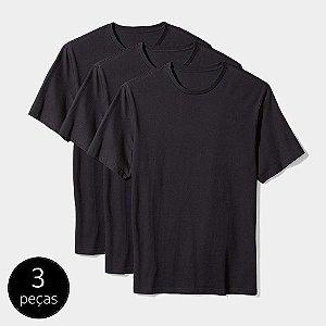 Camiseta Básica Masculina Algodão Kit 3 Peças Preta