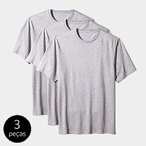 Camisetas Básica Masculina Algodão Kit 3 Peças Cinza