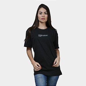 Camiseta Estampada Minimal Algodão Feminina Preta