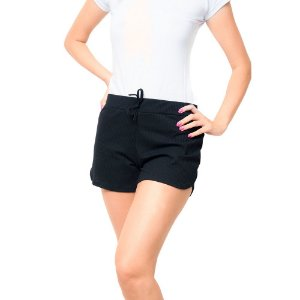 Shorts Canelado Fashion Feminino Preto