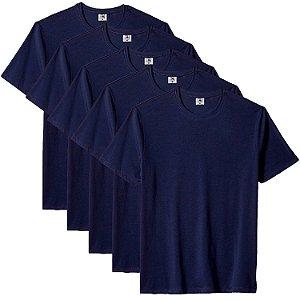 Kit com 5 Camiseta Masculina Básica Algodão Premium Azul