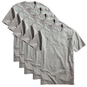 Kit com 5 Camiseta Masculina Básica Algodão Premium Cinza