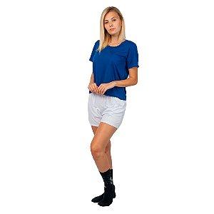 Conjunto Pijama Short Dolll Básico Part.B Azul e Branco