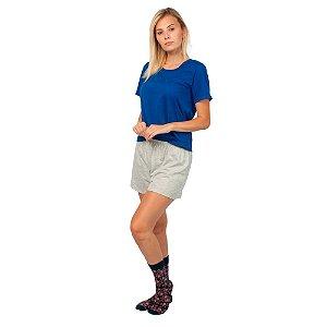 Conjunto Pijama Short Dolll Básico Part.B Azul e Cinza Claro